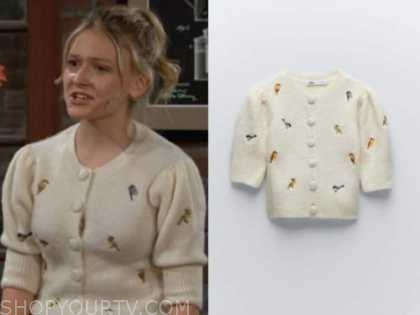 faith newman, alyvia alyn lind, ivory bird embroidered cardigan sweater, the young and the restless