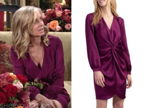 ashley abbott, eileen davidson, the young and the restless, purple satin twist dress