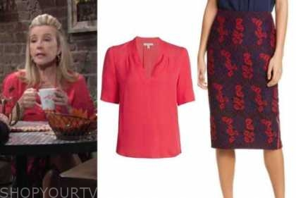 nikki newman, melody thomas scott, the young and the restless, coral top, lace pencil skirt