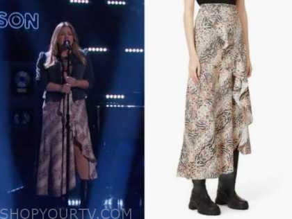kelly clarkson, the kelly clarkson show, animal print ruffle midi skirt