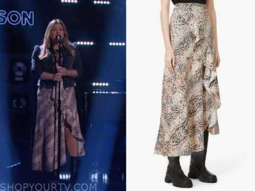 kelly clarkson, the kelly clarkson show, animal print ruffle midi skirt