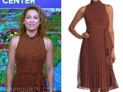 ginger zee, good morning america, brown polka dot dress