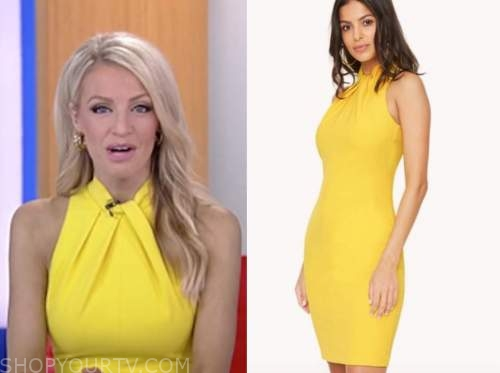 carley shimkus, yellow mock neck sheath dress, fox and friends