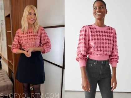 holly willoughby, pink embellished jumper, this morning