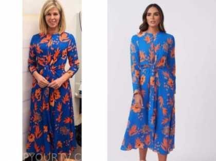 kate garraway, good morning britain, blue and orange leaf print midi dress