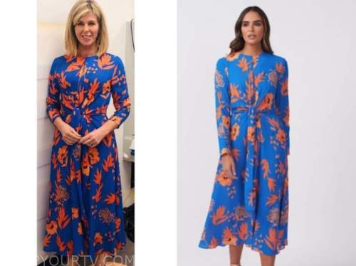 kate garraway, good morning britain, blue and orange leaf print midi dress