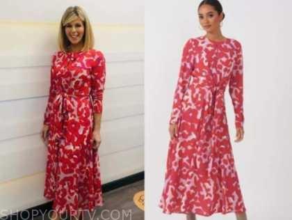 kate garraway, good morning britain, red and pink printed midi dress
