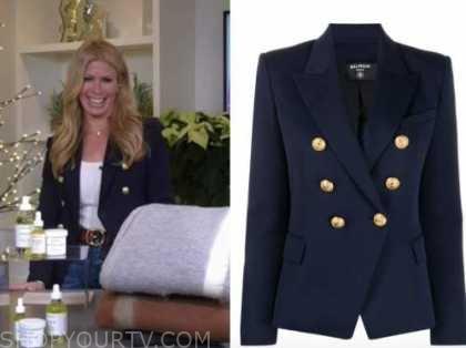jill martin, good morning america, navy blue double breasted blazer