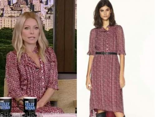 kelly ripa, live with kelly and ryan, burgundy red metallic dress