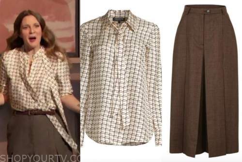 drew barrymore, drew barrymore show, silk tie neck blouse, brown culottes