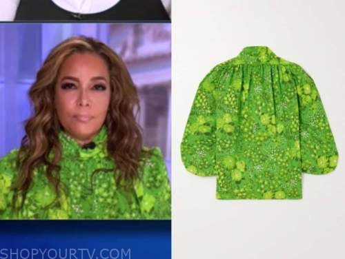 the view, sunny hostin, green mock neck blouse