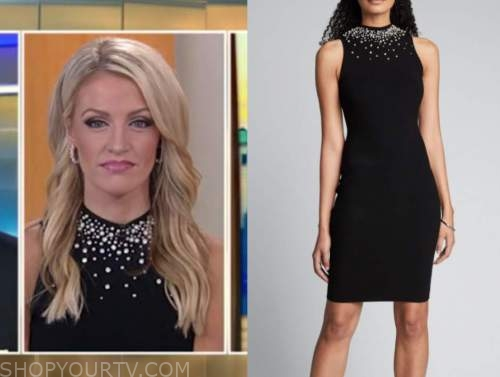carley shimkus, fox and friends, black pearl embellished dress,