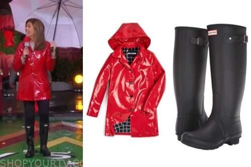 hoda kotb, the today show, red rain coat, black rain boots