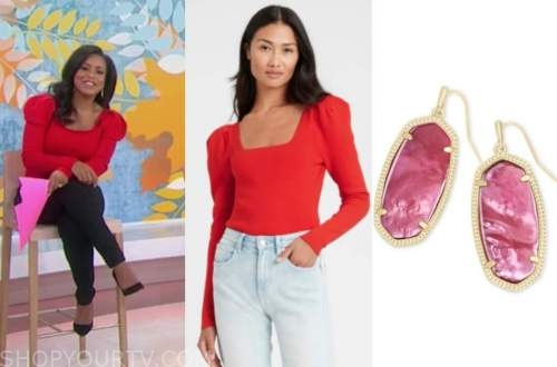 the today show, sheinelle jones, red puff sleeve top, red earrings