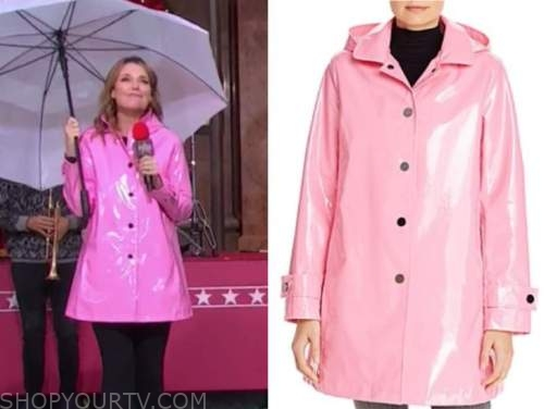 savannah guthrie, pink rain jacket, the today show