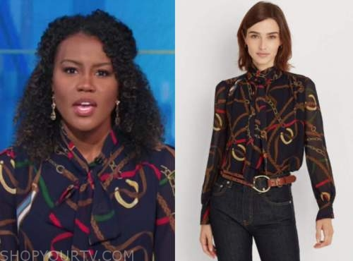 janai norman, good morning america, chain link print tie neck blouse