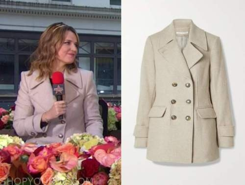 savannah guthrie, the today show, beige double breasted coat, thanksgiving day parade