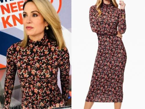 amy robach, good morning america, floral midi turtleneck dress