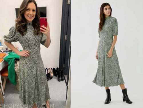 laura tobin, good morning britain, green puff sleeve midi dress
