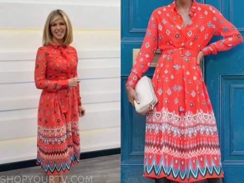 kate garrway, red printed shirt dress, good morning britain