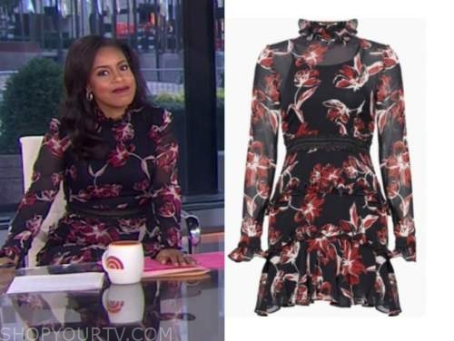 sheinelle jones, black and red floral dress, the today show