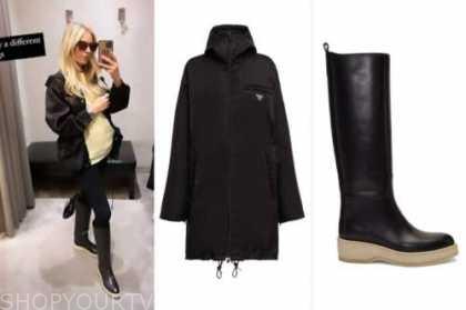 morgan stewart, black parka coat, black boots