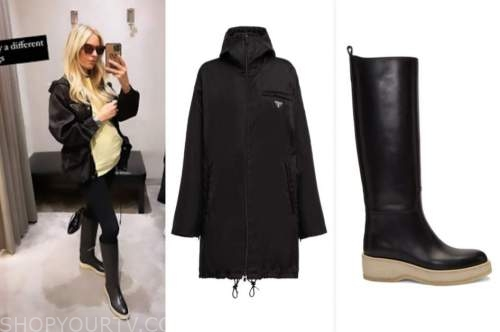 morgan stewart, black parka coat, black boots