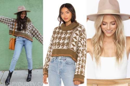 caila quinn, the bachelor, houndstooth sweater, rancher hat
