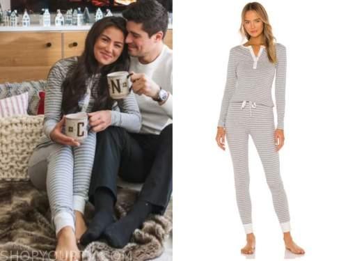 caila quinn, the bachelor, striped loungewear