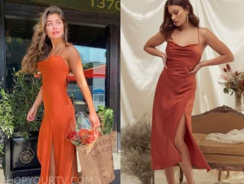 hannah ann sluss, the bachelor, red orange drape midi dress