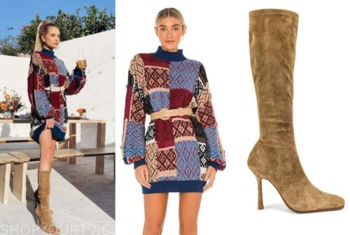 demi burnett, the bachelor, sweater dress, suede boots