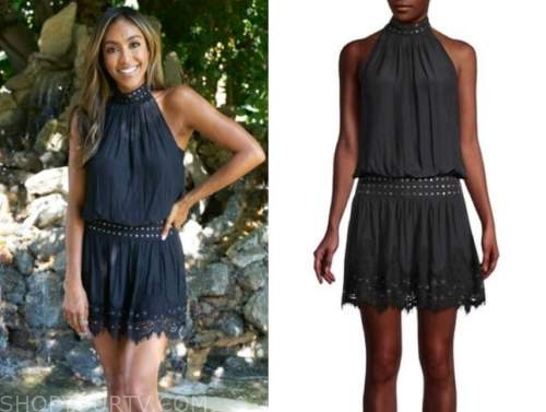 tayshia adams, the bachelorette, black studded halter mini dress