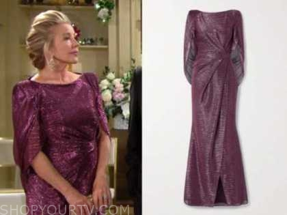 nikki newman, melody thomas scott, pink metallic cape gown, the young and the restless