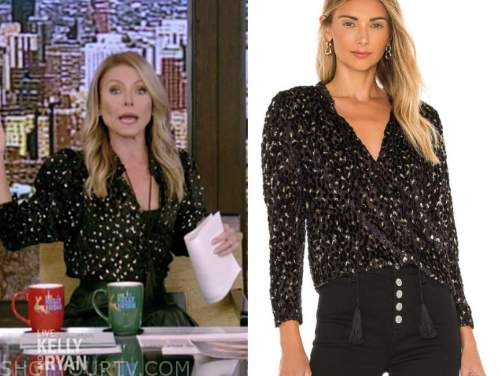 kelly ripa, live with kelly and ryan, black and gold metallic tassel blouse
