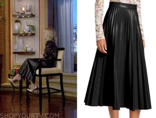 kelly ripa, black leather pleated midi skirt, live with kelly and ryan