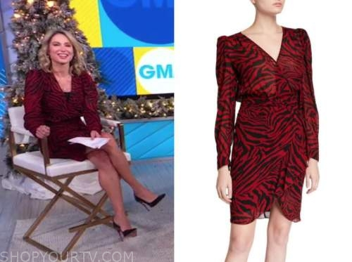 amy robach, good morning america, red zebra dress