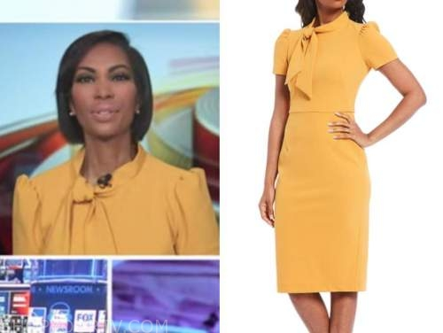 harris faulkner, yellow tie neck sheath dress, outnumbered