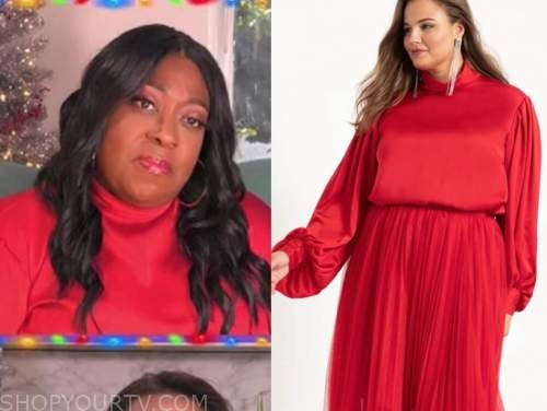 loni love, the real, red mock neck blouse
