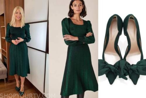 holly willoughby, this morning, green metallic knit midi dress, green bow heels