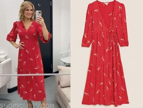 charlotte hawkins, good morning britain, red star wrap midi dress