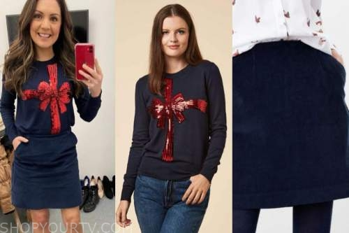 laura tobin, blue and red present gift jumper, blue cord skirt, good morning britain