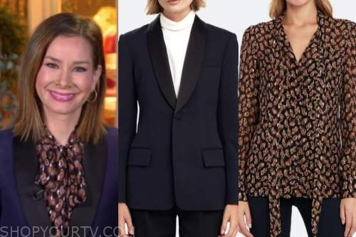 rebecca jarvis, good morning america, navy and black blazer, paisley tie neck blouse