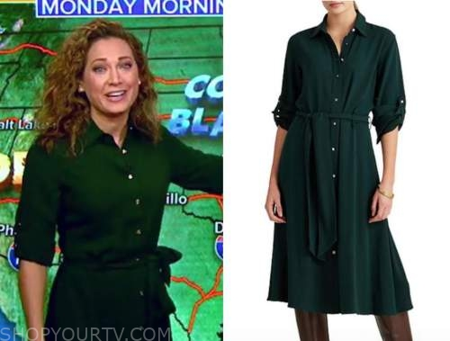 ginger zee, green shirt dress, good morning america