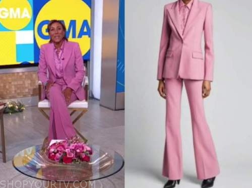 robin roberts, pink pant suit, pink floral satin blouse, good morning america