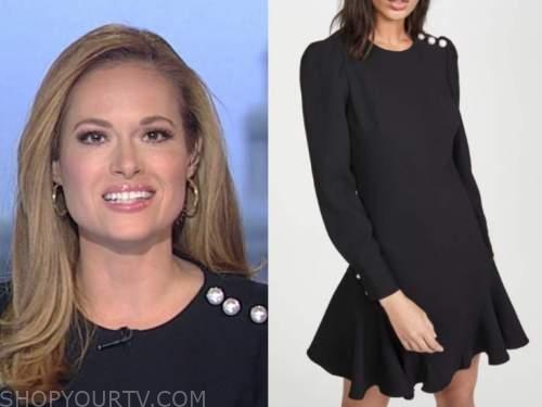 gillian turner, america's newsroom, black pearl button dress