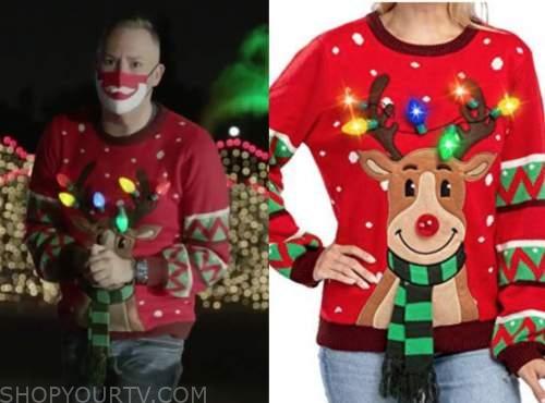ross mathews, red light up reindeer christmas sweater, drew barrymore show