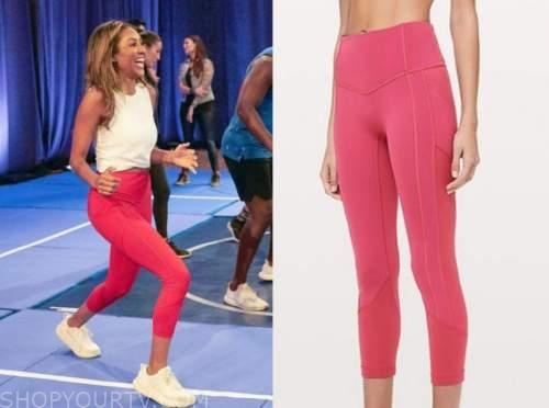 tayshia adams, the bachelorette, pink leggings, white crop top, sneakers
