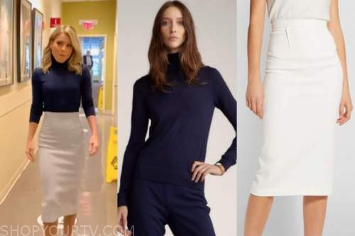kelly ripa, live with kelly and ryan, blue turtleneck, pencil skirt