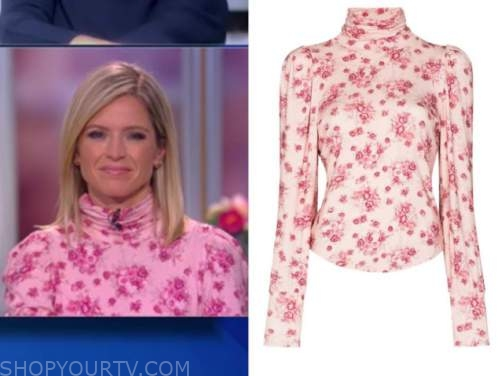 sara haines, the view, pink floral turtleneck top