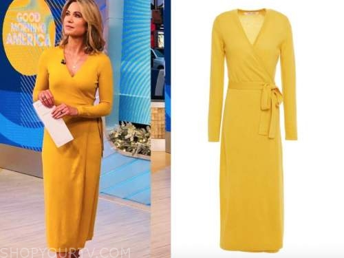 amy robach, yellow knit wrap dress, good morning america